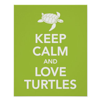 Keep Calm and Love Turtles print poster