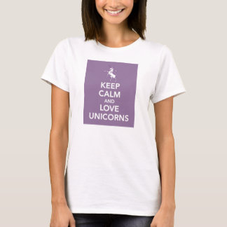 Keep Calm and Love Unicorns purple t-shirt
