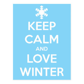 Keep calm and love winter postcard