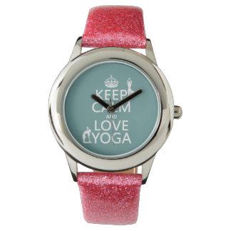 Keep Calm and Love Yoga (customizable colors) Wristwatch