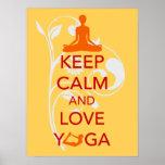 Keep Calm and Love Yoga unique art print poster