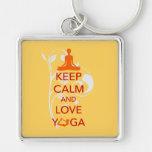 Keep Calm and Love Yoga - unique fun design Silver-Colored Square Keychain