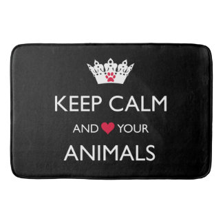 """KEEP CALM AND LOVE YOUR ANIMALS"" BATH MAT"