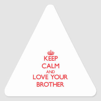 Keep Calm and Love your Brother Triangle Sticker