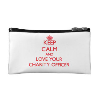 Keep Calm and Love your Charity Officer Cosmetic Bags