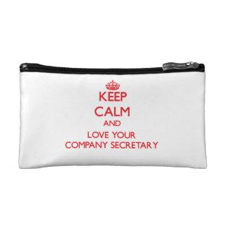 Keep Calm and Love your Company Secretary Cosmetics Bags