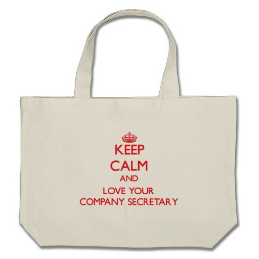 Keep Calm and Love your Company Secretary Tote Bags