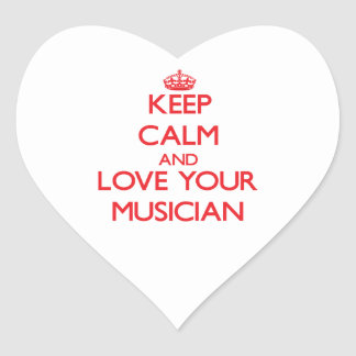 Keep Calm and Love your Musician Heart Sticker