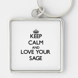 Keep Calm and Love your Sage Silver-Colored Square Keychain