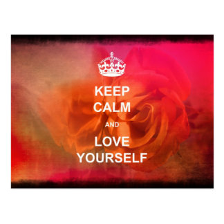 Keep calm and love yourself postcard