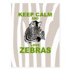Keep Calm and Love Zebras Unique Fun Print Postcard