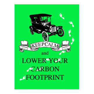 Keep Calm and Lower Your Carbon Footprint Design Postcard