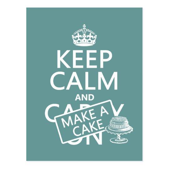 Keep Calm and Make A Cake (customize colours) Postcard