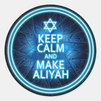 Keep Calm And Make Aliyah Classic Round Sticker