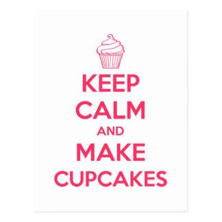 Keep calm and make cupcakes postcard