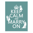Keep Calm and Marry On (any colour background) Postcard