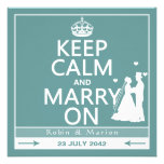 Keep Calm and Marry On - Bride and Groom Personalized Announcements