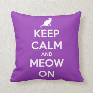 Keep Calm and Meow On Purple Throw Pillow