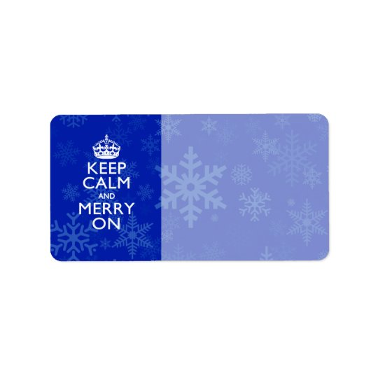 Keep Calm And Merry On Blue Snowflakes Label