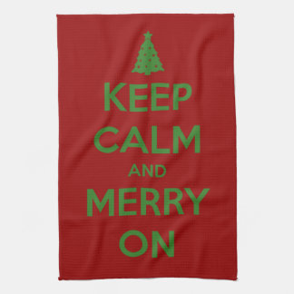 Keep Calm and Merry On Red and Green Kitchen Towel