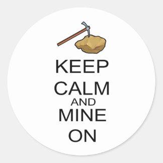 Keep Calm And Mine On Classic Round Sticker