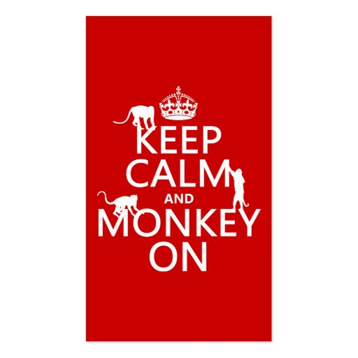 Keep Calm and Monkey On - all colours Business Card Template