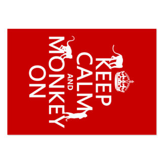 Keep Calm and Monkey On - all colours Large Business Card