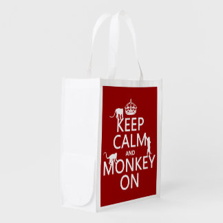 Keep Calm and Monkey On - all colours Reusable Grocery Bags