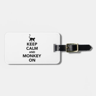 Keep calm and monkey on luggage tag