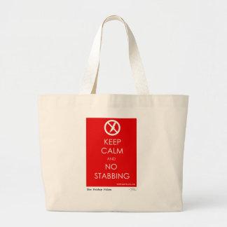 Keep Calm and No Stabbing Large Tote Bag