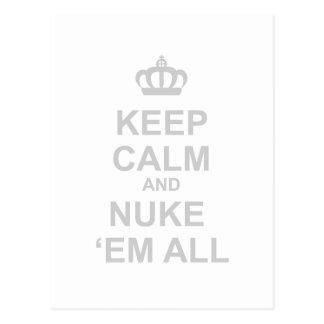 Keep Calm And Nuke Em All - Dictator War Funny Postcard