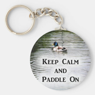 Keep Calm and Paddle On Basic Round Button Keychain