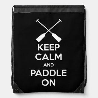 Keep Calm and Paddle On Drawstring Bag