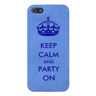Keep Calm and Party on Blue Kraft Paper iPhone 5/5S Cover