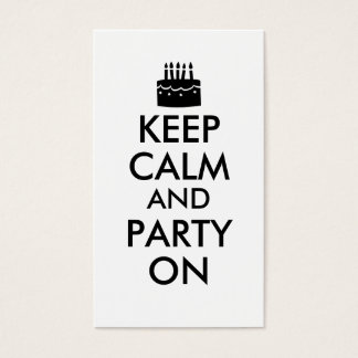 Keep Calm and Party On Cake Customizable Business Card