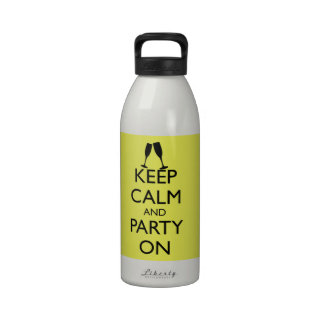 KEEP CALM AND PARTY ON, CHAMPAGNE WATER BOTTLE