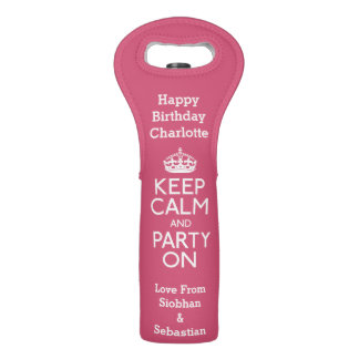 Keep Calm And Party On Personalized Wine Bag