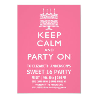 """Keep Calm and Party On Sweet Sixteen Birthday 5"""" X 7"""" Invitation Card"""