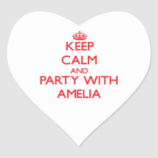 Keep Calm and Party with Amelia Heart Sticker