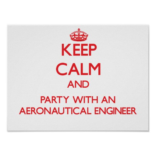 Keep Calm and Party With an Aeronautical Engineer Poster