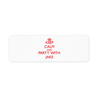 Keep calm and Party with Jake Return Address Label