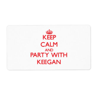 Keep calm and Party with Keegan Personalized Shipping Label