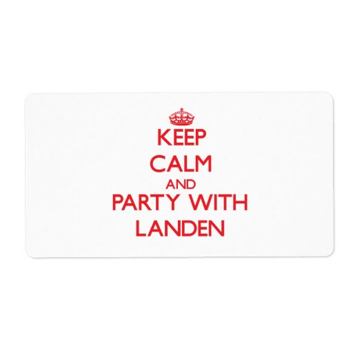 Keep calm and Party with Landen Personalized Shipping Labels