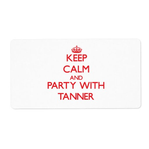 Keep calm and Party with Tanner Personalized Shipping Label
