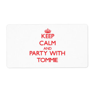 Keep calm and Party with Tommie Custom Shipping Labels