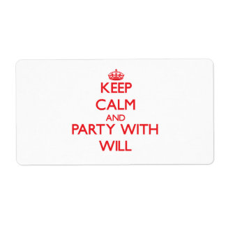 Keep calm and Party with Will Shipping Labels