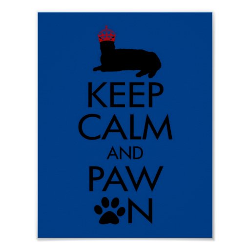 Keep Calm and Paw On Poster in Blue