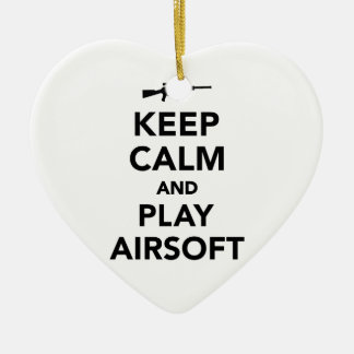 Keep calm and play Airsoft Ceramic Heart Ornament