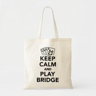 Keep calm and play bridge budget tote bag