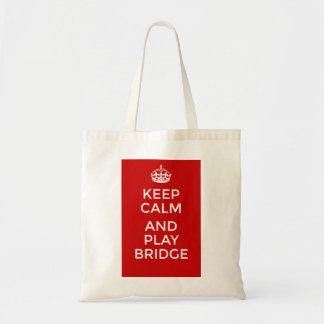 Keep calm and play bridge tote bag
